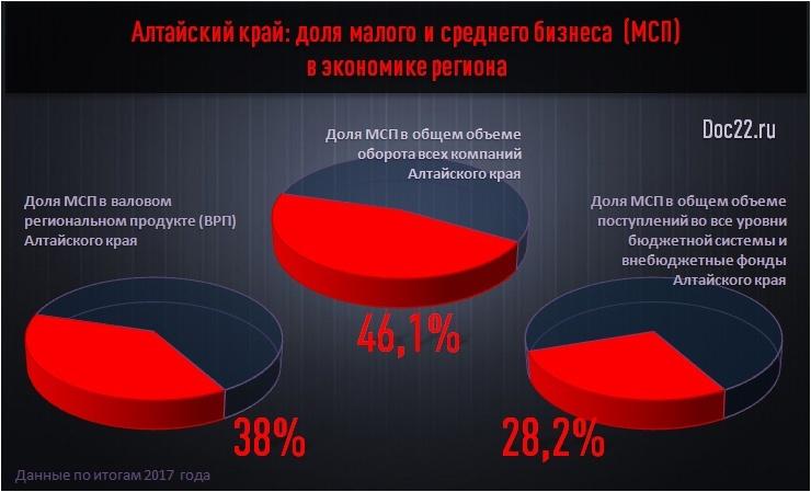 Doc22.ru Алтайский край: доля малого и среднего бизнеса  (МСП) в экономике региона